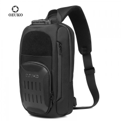 Ozuko 9361 Mobile Phone Bags Anti Theft Waterproof Shoulder Fanny Pack USB Chest Pouch Men Crossbody Bag